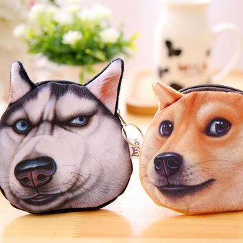 KEENICI 3D Printed Pattern Wicked Dog Children's Purse Doge Coin Purse Husky Dog Tide Small Purse Women Coin Bag Mini Akitas