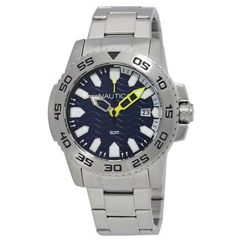 Nautica NSR 20 Navy Blue Wave Dial Mens Watch NAD13002G