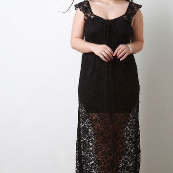 Semi-Sheer Cover Up Floral Lace Maxi Dress