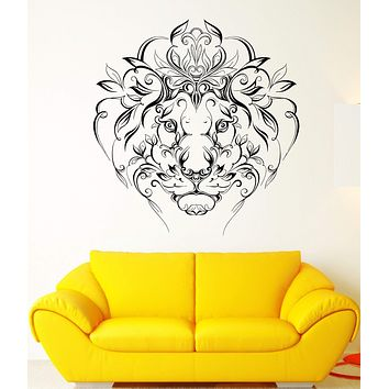 Wall Vinyl Sticker Lion King Predator Mane Patterns Flowers Art Decor Unique Gift (ed408)