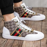 GUCCI Trending Men Leisure High Top Flats Stripe Bee Sport Shoes Sneakers 1#