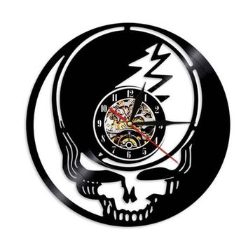 Skull Head Decorative Vinyl Record Wall Clock