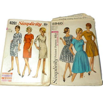 Two Vintage Simplicity Dress Pattern 6261 5940 Size 16 Bust 36 1960's Retro Clothes Pattern