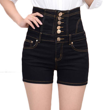 Womens high waisted bodycon denim shorts white plus size fashion black corset denim shorts black summer skinny jeans shorts blue