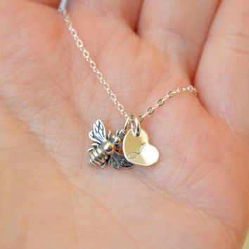Tiny Bee Necklace, Initial Charm Necklace, Personalized Honey Bee Necklace, Dainty Everyday Necklace , Simple Jewelry