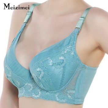 Meizimei women bralette lace lingerie adjustable fly bra top big size bh push up plus size underwear floral sheer wide bra X3201