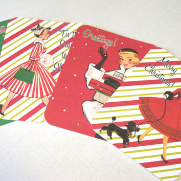 Retro Christmas Cards - Set Of 4 - Mid Century Ladies - Vintage Shoppers - 1950's Cards - Flat Cards - Vintage Cards - Christmas Notecards