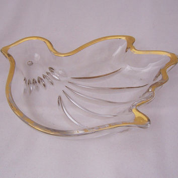 Vintage Glass Gold Rimmed Bird Candy or Nut Dish