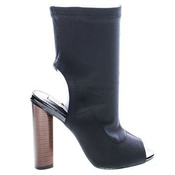 Connie3 By Cape Robbin, Lycra Elastic Peep Toe Open Back Bootie On Round Chunky Stack Heel