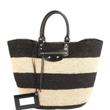 balenciaga panier large striped raffia tote bag 2