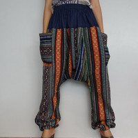 Harem Drop crotch pant,Unisex Baggy Trouser, Tribal Woven fabric (pants-W4).
