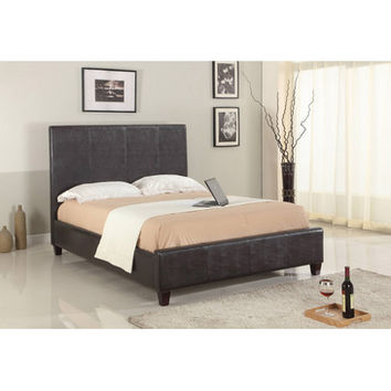 Modus Mambo Upholstered Low Profile Panel Bed in Chocolate