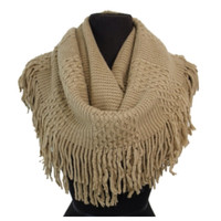 Love the Fringe! Soft, Cozy Fringe Accent Tan Infinity Scarf