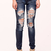 (alo) Midnight distressed skinny jeans