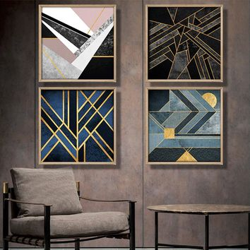 Nordic geometric abstract canvas painting blue color gold thread Home Decor On Canvas Modern Wall Prints art work no frame