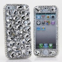 BlingAngels® 3D Luxury Bling iphone 5 5s Case Cover Faceplate Swarovski Crystals Diamond Sparkle bedazzled jeweled Design Front & Back Snap-on Hard Case (100% Handcrafted by BlingAngels) (Clear Stones Design)