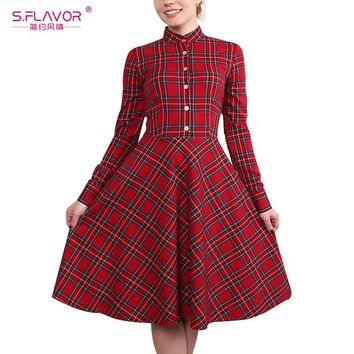 S.FLAVOR Women Scotland plaid dress hot sale vintage long sleeve button A-line dress Elegant Women Autumn winter vestidos