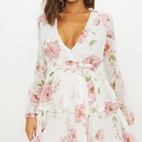 White Floral Chiffon Double Tier Plunge Skater Dress