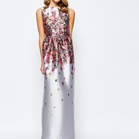 True Violet Premium Structured Maxi Dress with Floral Ombre Print