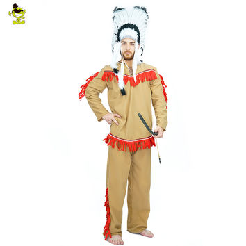 2016 free size adult men Native American costumes Indian savages clothing  Halloween Party cosplay costumes