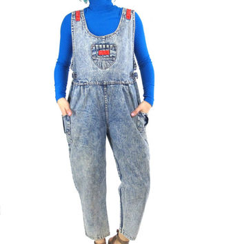 90s Grunge Acid Wash Overalls Kawaii Denim Overalls Korean Vintage Petites Jumpsuit Sleeveless Onesuit Womens Hip Hop Club Kid Jeans (S/M)