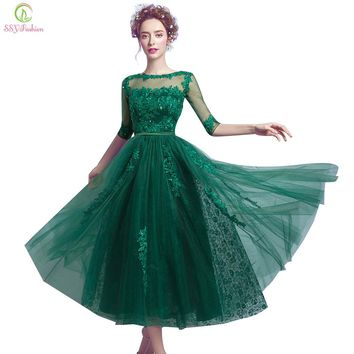 New Evening Dress Bride Banquet Elegant Green Lace Half Sleeve Tea-length Appliques Sequined Formal Party Gown Custom