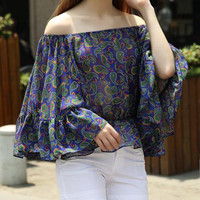 Off-The-Shoulder Bell Sleeve Peplum Top