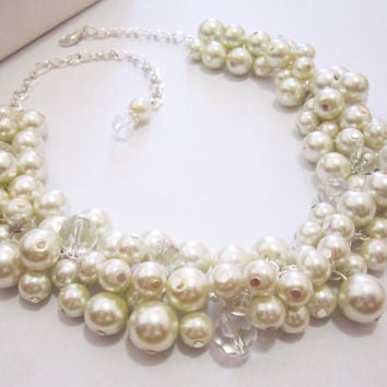 Pearl Bubble Necklace, Bib Necklace, Pearl Bridesmaid Necklace, Pearl Bauble Necklace, Pearl Wedding Necklace, Pearl Jewelry