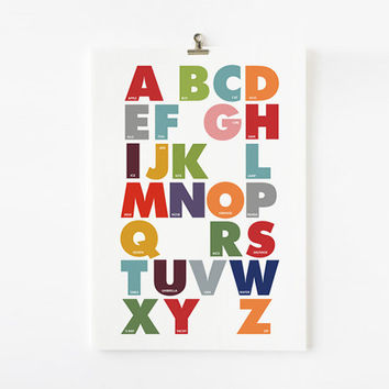 Children Decor Alphabet Print in modern nursery art by loopzart