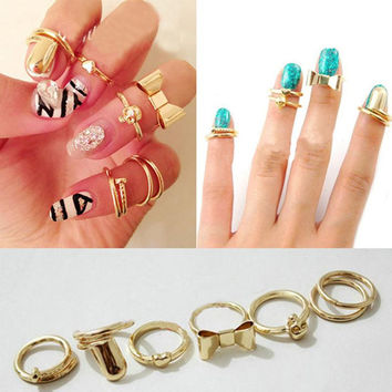 anillos mujer 2015 The middle finger ring new Hot Sale Fashion brand jewelry knuckle Midi gold Rings set For Women free shipping