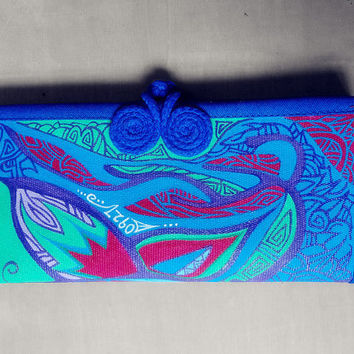 Chinese wallet Custom acrylic painted butterfly totem