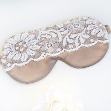 Gold Mask, Floral Lace Mask, Satin Mask, Champagne Mask, Bridal Gift, Gift for her, Lace Sleep Mask