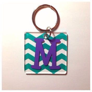 Single Initial Monogram Keychain - 2 x 2 Personalized Square Keychain - Teacher Gift Bridesmaid Gift Sorority Sister Gift