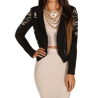 Black Lacy Ponte Jacket