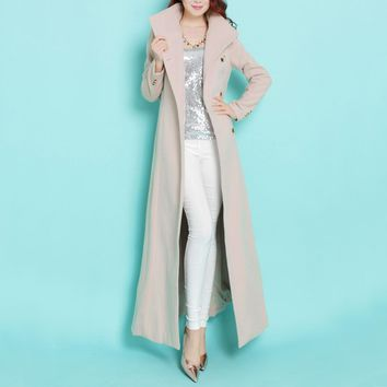 New Fashion stand collar single breasted ultra long woolen coat OL ladies' elegant cashmere wool overcoat autumn winter outwear