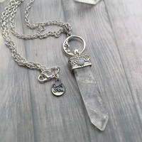 Moonstone Crystal point pendant with moon, One of a kind, clear quartz pendant, long necklace