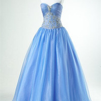 Ball Gown Sweetheart Floor-length Sequined Tulle Prom Dress