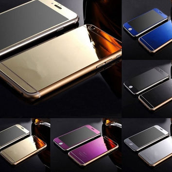 [flash Gold Mirror Tempered Glass Front+Back Screen Protector For iPhone 6 5 5S 6p WI sa = 5988030657