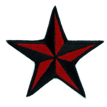 ac spbest Red Nautical Star Patch Iron on Applique Alternative Clothing Tattoo Rockabilly