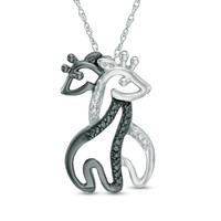 Enhanced Black and White Diamond Accent Hugging Giraffes Pendant in Sterling Silver with Black Rhodium