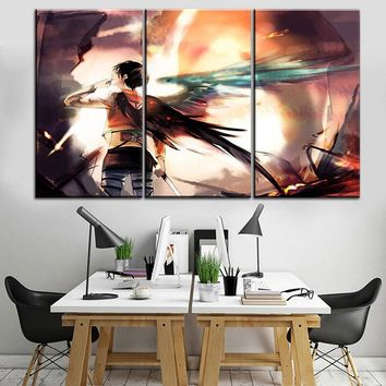Cool Attack on Titan Top-Rated Canvas Print Wall Art Picture 3 Piece Anime  Eren Yeager Eren Wings Painting Modern Decorative Office AT_90_11
