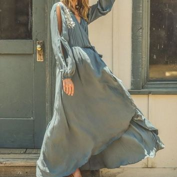 Time After Time Long Sleeve Maxi Dress