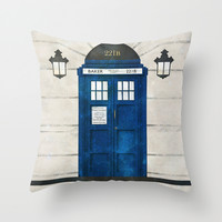 Doctor Who & Sherlock Throw Pillow by Sof Andrade
