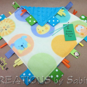 Baby Crinkle Sensory Toy, Tag Blanket with Crinkle Sound, blue turquoise animals monkey dots dog tiger READY TO SHIP 169