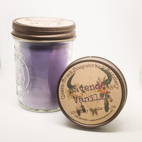 Lavender Vanilla Pure Soy Candle in 8oz Mason Jar with Rustic Lid Highly Scented and Long Lasting
