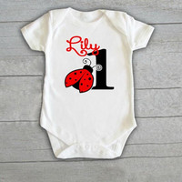 Lady Bug Baby Onesuit Newborn CHOOSE any COLOR coming home outfit ladybug toddler birthday shirt Personalized