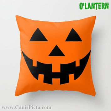 ONE Jack O'Lantern Throw Pillow 16x16 Graphic Print Cover Halloween Autumn Pumpkin Orange Rust Sienna Bright Dark Couch Art Fall Colors