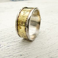 Rustic Western Ring Diamond Stamped Sterling and Brass Ring Band | WestWindCreations - Jewelry on ArtFire