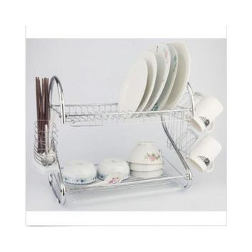 2 Tiers Kitchen Dish Cup Drying Rack Drainer Dryer Tray Cutlery Holder Organizer