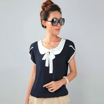 Bow Women shirt blouses plus size elegant body chiffon peter pan collar blouse cute 3xl 4xl xxxl blusa blouse